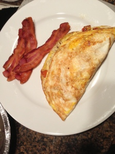 Roasted Chicken, Pepper & Goat Cheese Omelet